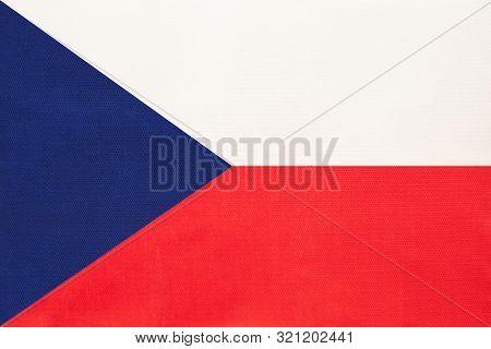 Czech Republic National Fabric Flag, Textile Background. Symbol Of International World European Coun