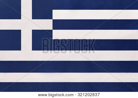 Greece National Fabric Flag, Textile Background. Symbol Of International World European Country. Sta