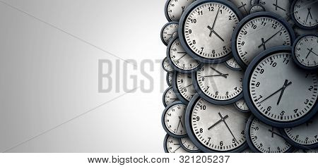 Time Background Abstract Concept As A Group Of Clock Objects Representing Day And Night Planning Or