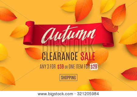 Seasonal Sale Banner With Falling 3d Colored Leaves, Text Autumn And Red Realistic Ribbon On Orange