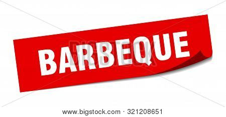 Barbeque Sticker. Barbeque Square Isolated Sign. Barbeque