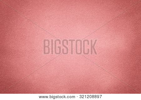 Light Pink Matte Background Of Suede Fabric, Closeup. Velvet Texture Of Rose Seamless Pastel Leather