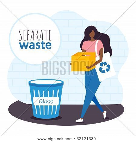 Young Woman With Ecology Bag And Box Is Separating Garbage In The Bin Glass On The Street. Vector Il