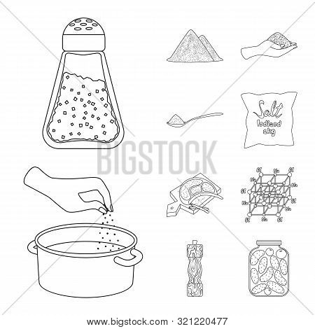 Vector Design Of Sodium And Mineral Sign. Collection Of Sodium And Kitchen Stock Symbol For Web.