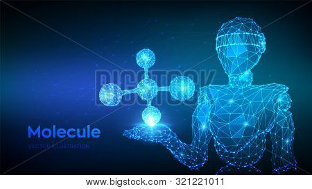 Molecule Structure. Low Poly Abstract Molecule. Dna, Atom, Neurons. Molecules And Chemical Formulas.