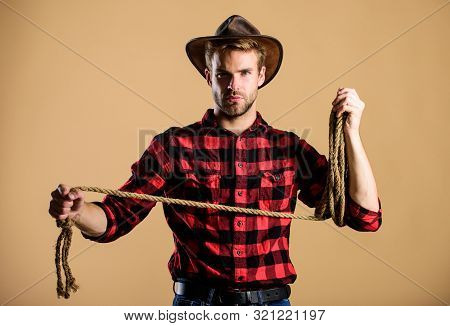 Lasso Tool Of American Cowboy. Ranch Occupations. Lasso Is Used In Rodeos Part Competitive Events. L