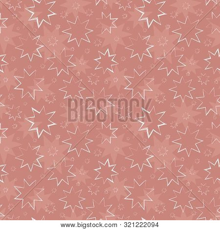 Beautiful Hand Drawn White Stars In Painterly Design. Seamless Vector Pattern On Textured Dusky Pink
