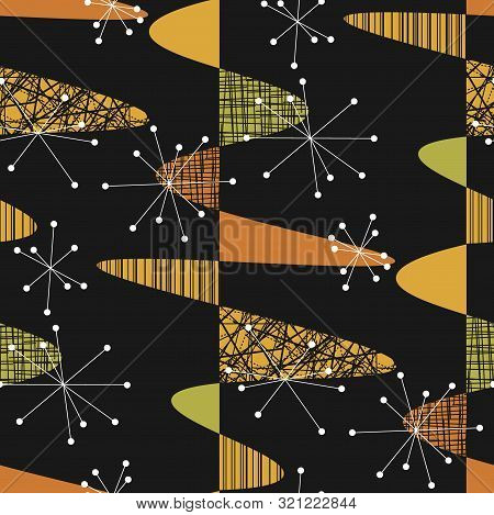 Atomic Age Vibes Geometric Seamless Pattern For Background, Wrap, Fabric, Textile, Wrap, Surface, We