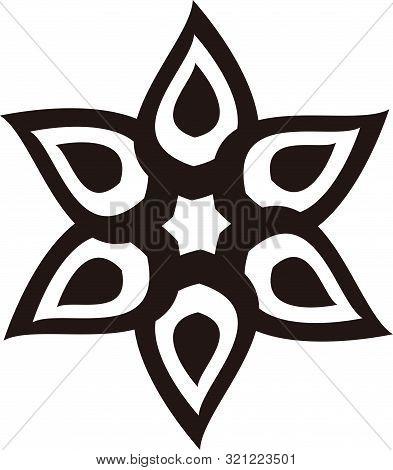 Black Vector Mandala On White Background, Greek Ornamental Black And White Vector Round Mandala Patt