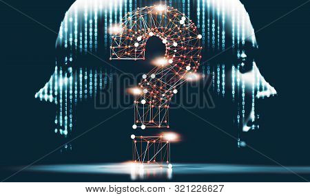 Networking And Communication Questions For Cyber Security.cyborg Head And Binary Code.3d Illustratio