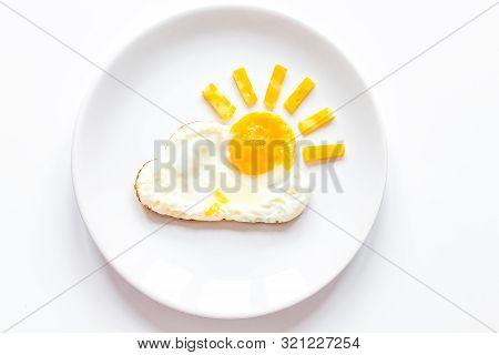 Sunshine Fried Eggs Breakfast For Kid On White Background