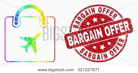 Pixelated Bright Spectral Airport Shopping Bag Mosaic Icon And Bargain Offer Watermark. Red Vector R