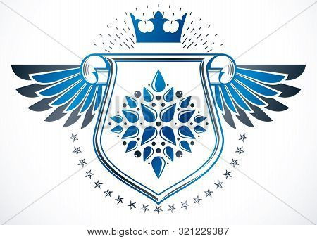 Vintage Heraldry Design Template With Cartouche, Winged Vector Emblem Made Using Imperial Crown, Lil