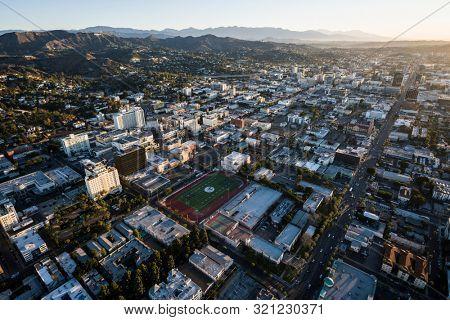 Los Angeles, California, USA - February 20, 2018:  Aerial morning view of of Sunset Blvd near Highland Av in Southern California.