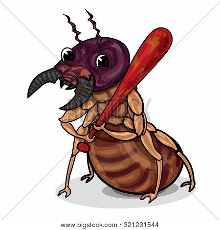 Character Design Of Funny Termite Hold A Red Club, A Hooligan Or Destroyer, Isolate On White Backgro