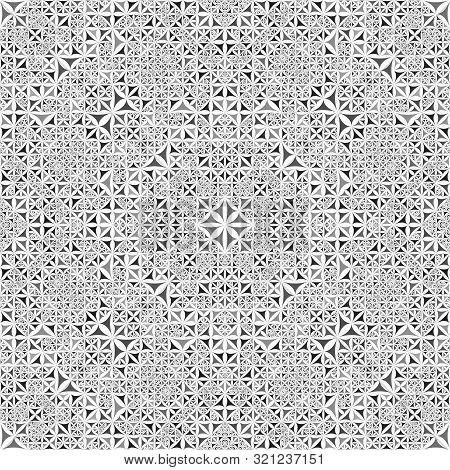 Grey Seamless Kaleidoscope Pattern Background - Abstract Symmetrical Vector Wallpaper Illustration W