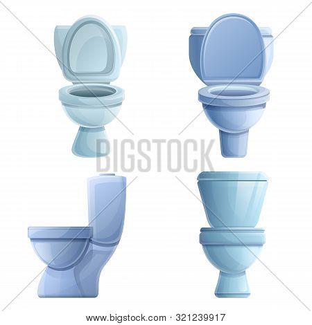Toilet Icons Set. Cartoon Set Of Toilet Vector Icons For Web Design