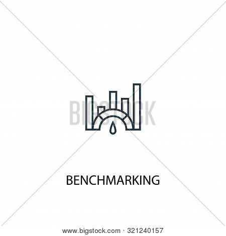 Benchmarking Concept Line Icon. Simple Element Illustration. Benchmarking Concept Outline Symbol Des