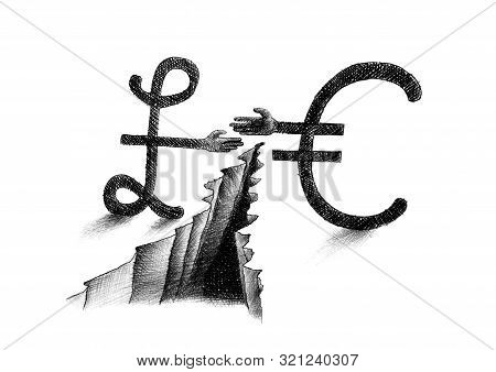 Hand Drawn Pencil Sketch Of Euro Symbol And British Pound Sterling Sign Reaching Out For A Handshake