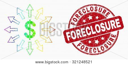 Pixelated Spectral Dollar Emission Mosaic Icon And Foreclosure Seal Stamp. Red Vector Rounded Grunge