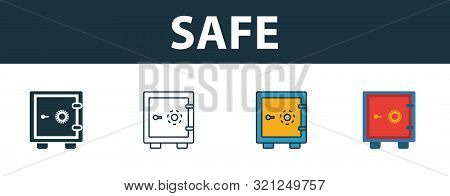 Safe icon set. Four elements in diferent styles from personal finance icons collection. Creative safe icons filled, outline, colored and flat symbols poster