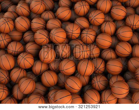 Many Basketball balls background. 3d rendering