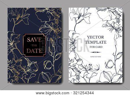 Vector Orchid Floral Botanical Flowers. Black And White Engraved Ink Art. Wedding Background Card De