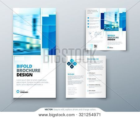 Bi Fold Brochure Design With Square Shapes, Corporate Business Template For Bi Fold Flyer. Creative