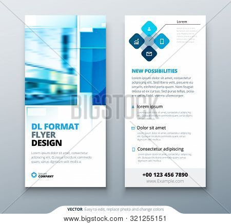 Blue Dl Flyer Design With Square Shapes, Corporate Business Template For Dl Flyer. Creative Concept