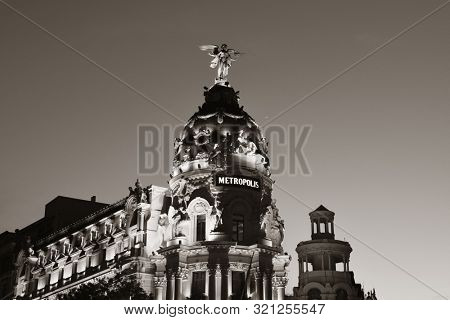 MADRID, SPAIN – MAY 13, 2018: The Metropolis Building or Edificio Metropolis is an office building and the famous landmark in Gran Via shopping street.