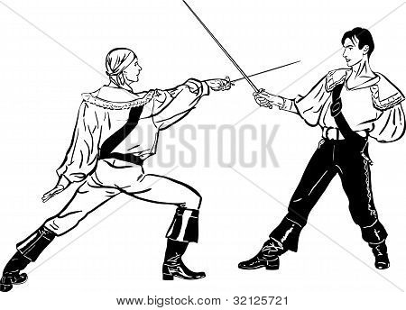 sketch of steam of fencers battle on a duel