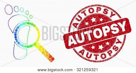 Pixelated Bright Spectral Footprint Audit Magnifier Mosaic Icon And Autopsy Seal Stamp. Red Vector R
