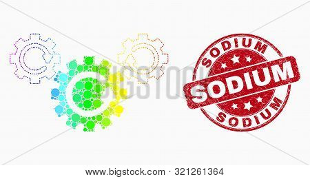Pixel Bright Spectral Gear Rotation Mosaic Icon And Sodium Seal. Red Vector Round Scratched Seal Wit