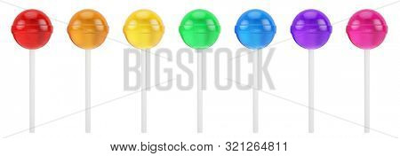 Colorful sweet lollipops - round candy on white stick isolated on white. 3d rendering