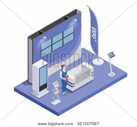 Isometric Composition With Woman And Expo Stand With Monitor And Handouts 3d Vector Illustration