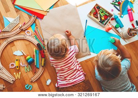 Kids Draw And Make Crafts. Kindergarten Or Preschool Background.