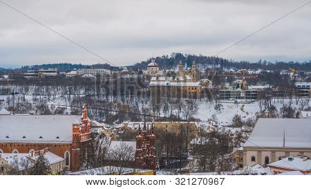 Areal View Of Old Town Of Vilnius In Winter. Capital Of Lietuva.