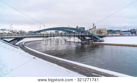 Vilnius, Lithuania - 05.01.2019: View Of Karallaus Mindaugo Bridge Over Neris River.