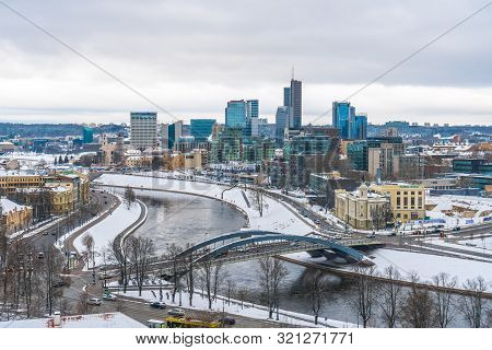 Vilnius, Lithuania - 05.01.2019: View To Modern Part Of Vilnius In Winter, Capital Of Lithuania.