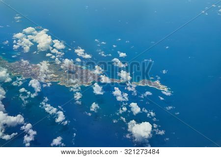 Flying over Anguilla in the Caribbean Sea, a British Overseas Territory in the Lesser Aatilles