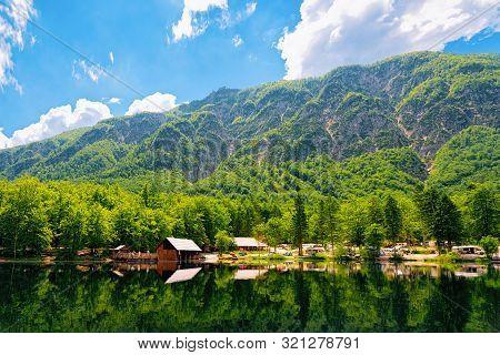 Camping Of Rv Caravan Trailers Near Bohinj Lake Of Slovenia