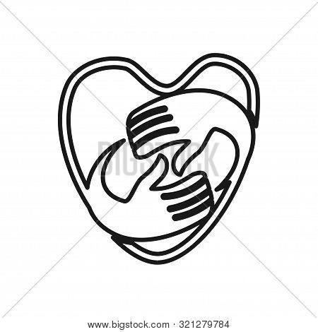Love Heart Hand Commitment Teamwork Together Outline Logo