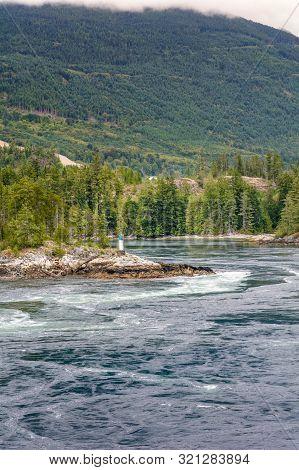 Turbulent Dangerous Tidal Rapids At High Tide, Skookumchuck Narrows, Bc, Canada.