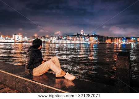 Night View Of Istanbul Cityscape Galata Tower With Floating Tourist Boats In Bosphorus ,istanbul Tur