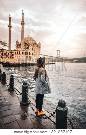 Woman Traveling At Istanbul Ortakoy Mosquel, Turkey