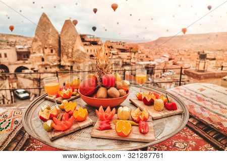 Travel In Cappadocia Colorful Hot Air Balloons Flying Over The Valley Sunrise Time With .special Bre