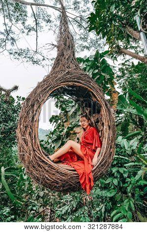 Young Happy Woman Enjoying In Nature Bali ,indonesia