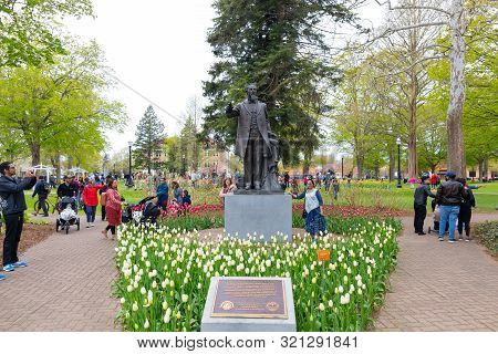 Holland, Michigan, Usa - May 11, 2019: Statue Of Dr. Albertus C. Van Raalte, Founder Of The City, An