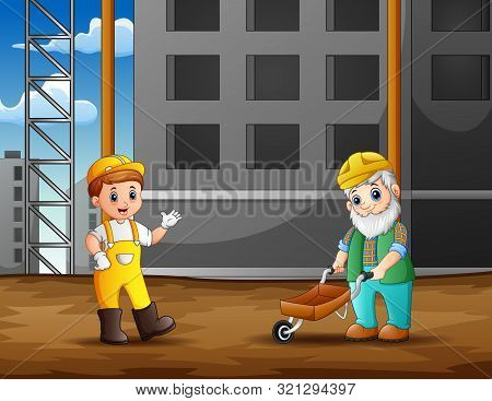 Construction Worker At Construction Site Background Illustration