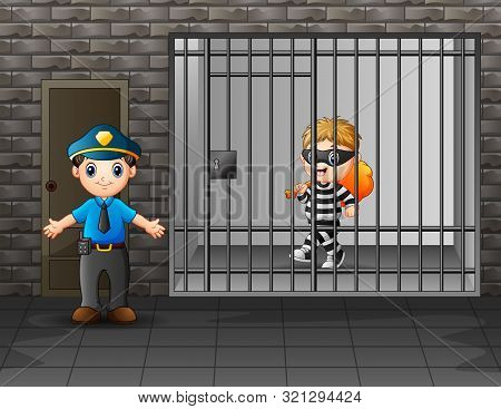 Prisoner In The Jail Being Guarded By Prison Guards